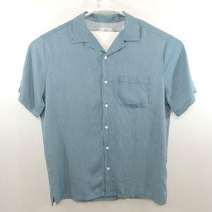 NWT ONIA Mens Vacation Shirt Striped Blue Rayon L